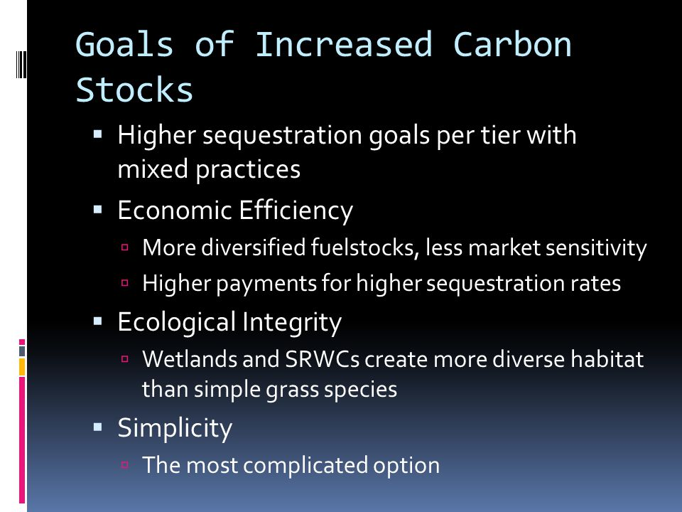 Goals of Increased Carbon Stocks  Higher sequestration goals per tier with mixed practices  Economic Efficiency  More diversified fuelstocks, less market sensitivity  Higher payments for higher sequestration rates  Ecological Integrity  Wetlands and SRWCs create more diverse habitat than simple grass species  Simplicity  The most complicated option