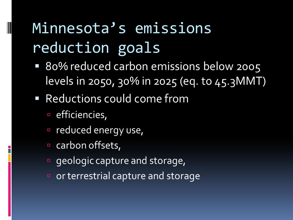 Minnesota's emissions reduction goals  80% reduced carbon emissions below 2005 levels in 2050, 30% in 2025 (eq.