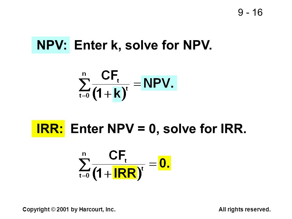 9 - 16 Copyright © 2001 by Harcourt, Inc.All rights reserved. NPV: Enter k, solve for NPV. IRR: Enter NPV = 0, solve for IRR.