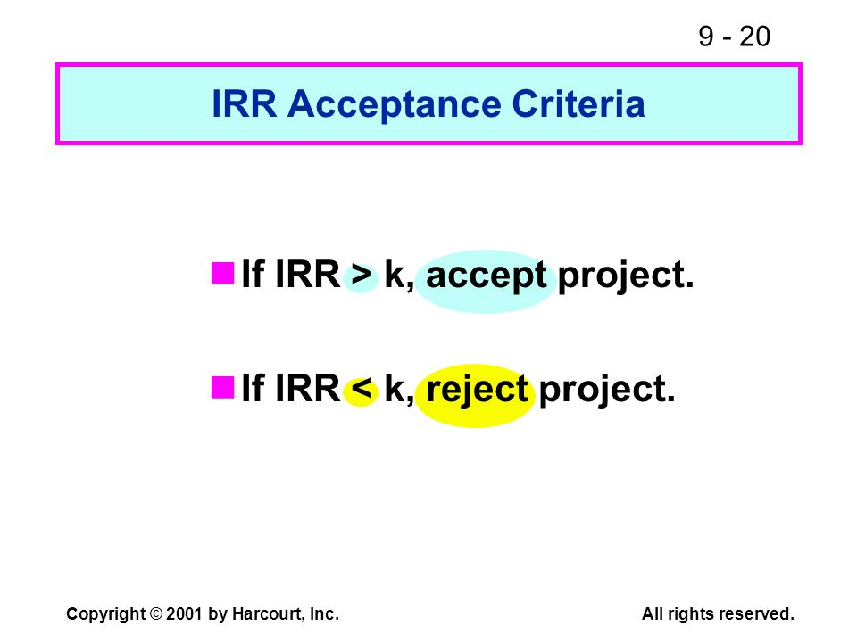 9 - 20 Copyright © 2001 by Harcourt, Inc.All rights reserved. IRR Acceptance Criteria If IRR > k, accept project. If IRR < k, reject project.