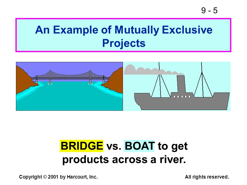 9 - 5 Copyright © 2001 by Harcourt, Inc.All rights reserved. An Example of Mutually Exclusive Projects BRIDGE vs. BOAT to get products across a river.