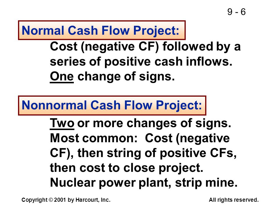 9 - 6 Copyright © 2001 by Harcourt, Inc.All rights reserved. Normal Cash Flow Project: Cost (negative CF) followed by a series of positive cash inflow