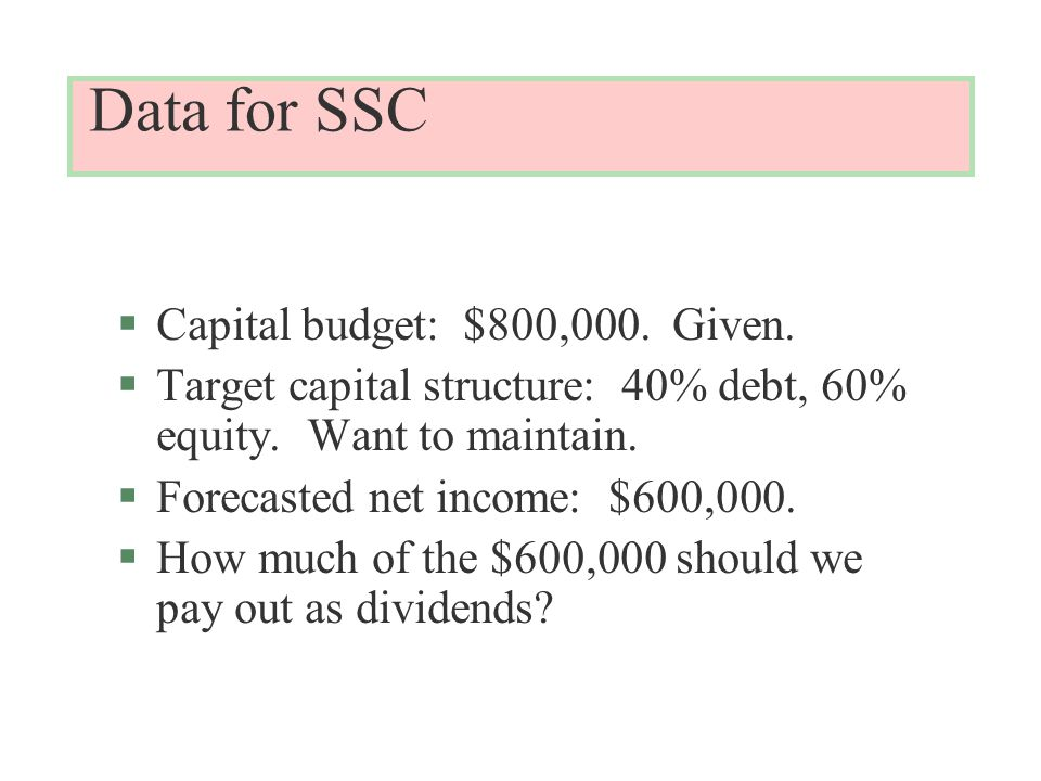 Data for SSC §Capital budget: $800,000. Given. §Target capital structure: 40% debt, 60% equity.