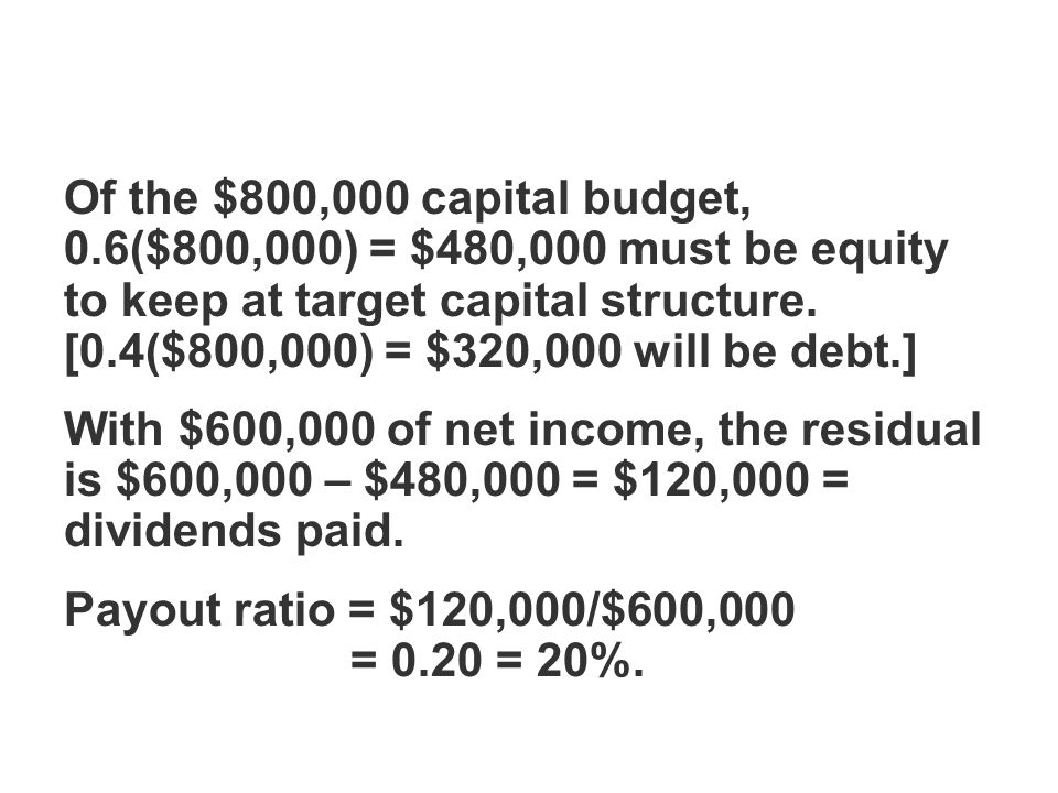 Of the $800,000 capital budget, 0.6($800,000) = $480,000 must be equity to keep at target capital structure.