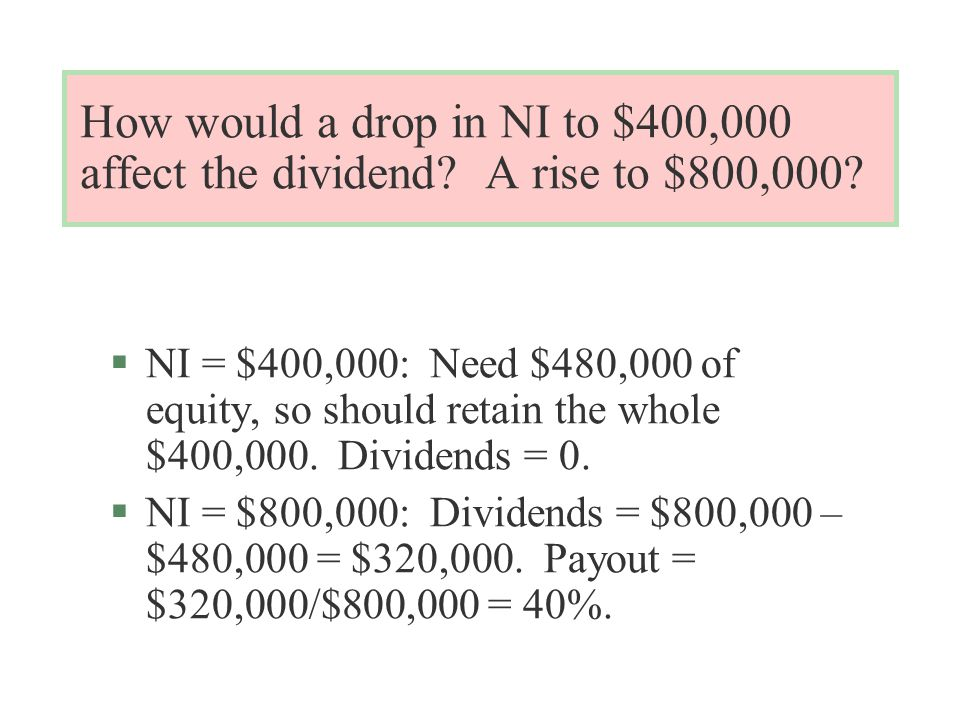 How would a drop in NI to $400,000 affect the dividend.
