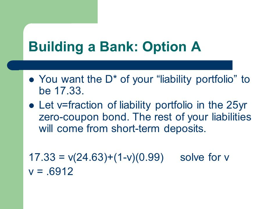 Building a Bank: Option A You want the D* of your liability portfolio to be 17.33.