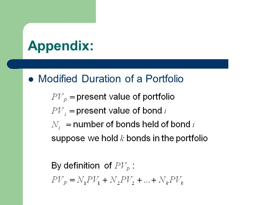Appendix: Modified Duration of a Portfolio