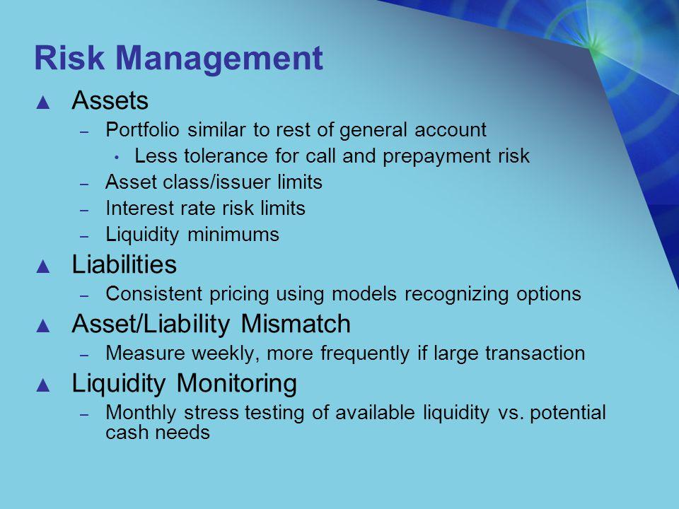-0.4 -0.3 -0.2 -0.1 0 0.1 0.2 0.3 0.4 0.5 0.6 Jan-00Jul-00Jan-01Jul-01Jan-02 Target MismatchActual MismatchPolicy MaxPolicy Min Interest Rate Risk Management: Asset minus Liability Duration
