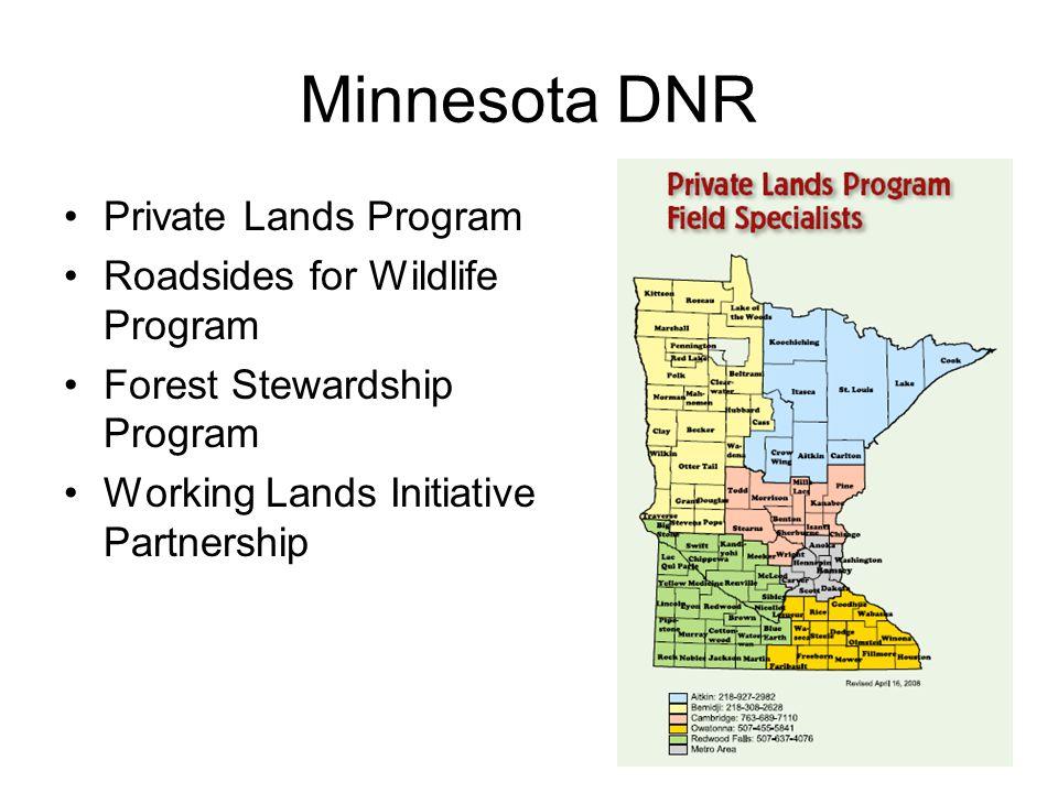 Minnesota DNR Private Lands Program Roadsides for Wildlife Program Forest Stewardship Program Working Lands Initiative Partnership