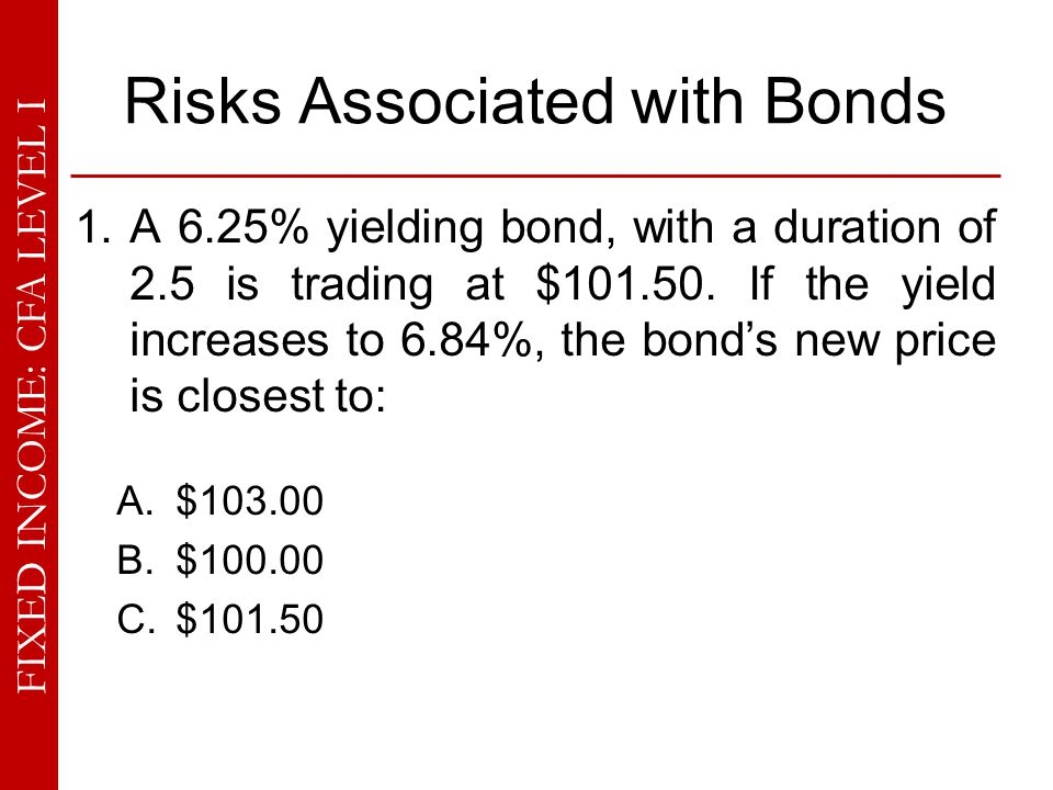 FIXED INCOME: CFA LEVEL I Risks Associated with Bonds 14.