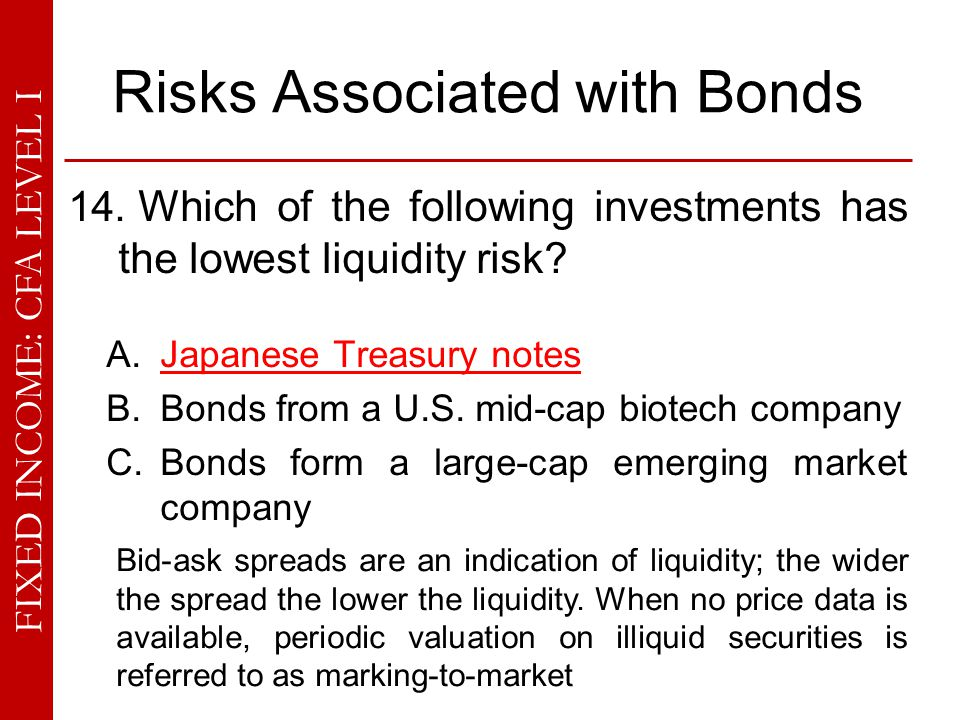FIXED INCOME: CFA LEVEL I Risks Associated with Bonds 14. Which of the following investments has the lowest liquidity risk? A. Japanese Treasury notes