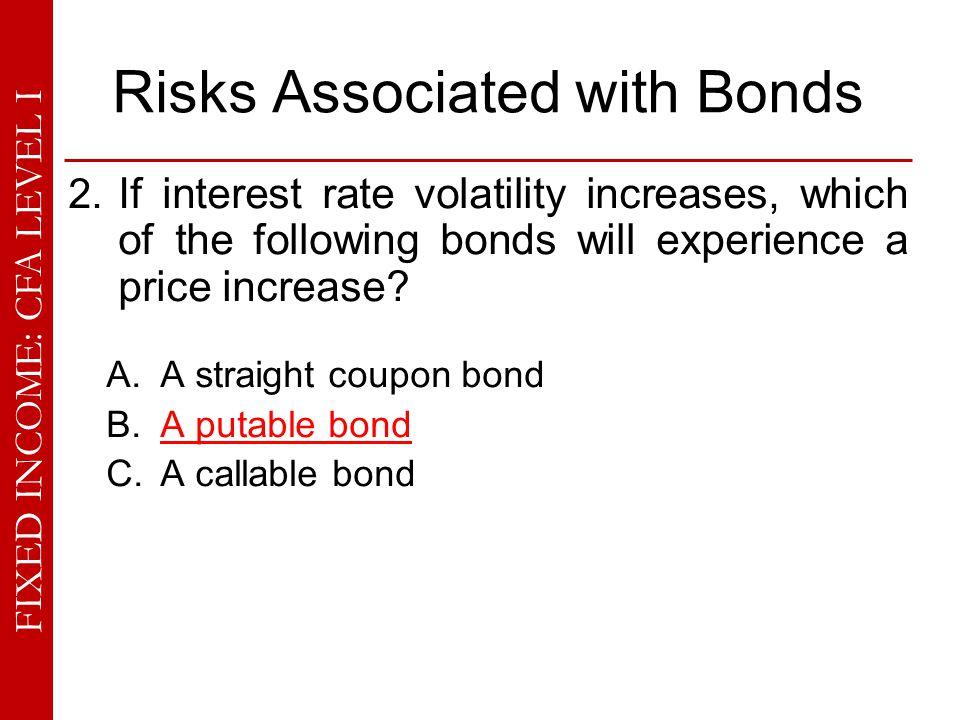 FIXED INCOME: CFA LEVEL I Risks Associated with Bonds 11.