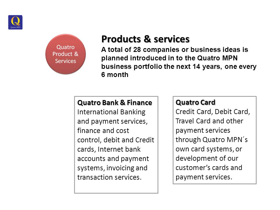 Products & services Products & services A total of 28 companies or business ideas is planned introduced in to the Quatro MPN business portfolio the next 14 years, one every 6 month Quatro Bank & Finance International Banking and payment services, finance and cost control, debit and Credit cards, Internet bank accounts and payment systems, invoicing and transaction services.