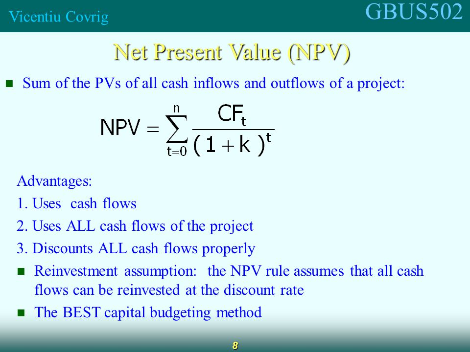GBUS502 Vicentiu Covrig 9 What is Project L's NPV.