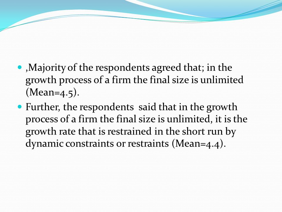 ,Majority of the respondents agreed that; in the growth process of a firm the final size is unlimited (Mean=4.5).