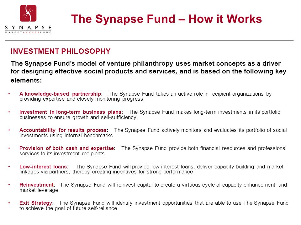 A knowledge-based partnership: The Synapse Fund takes an active role in recipient organizations by providing expertise and closely monitoring progress.