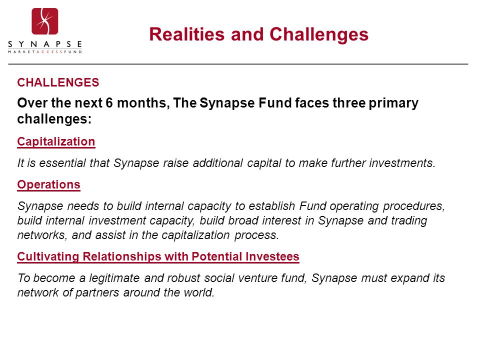 Realities and Challenges Over the next 6 months, The Synapse Fund faces three primary challenges: Capitalization It is essential that Synapse raise ad