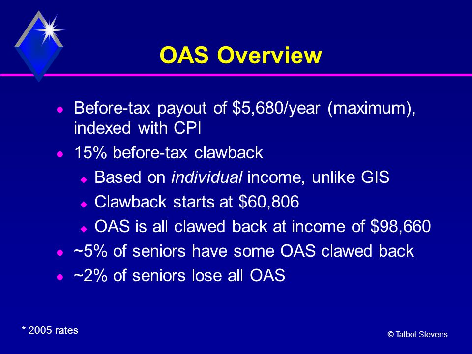 © Talbot Stevens OAS Overview Before-tax payout of $5,680/year (maximum), indexed with CPI 15% before-tax clawback  Based on individual income, unlik