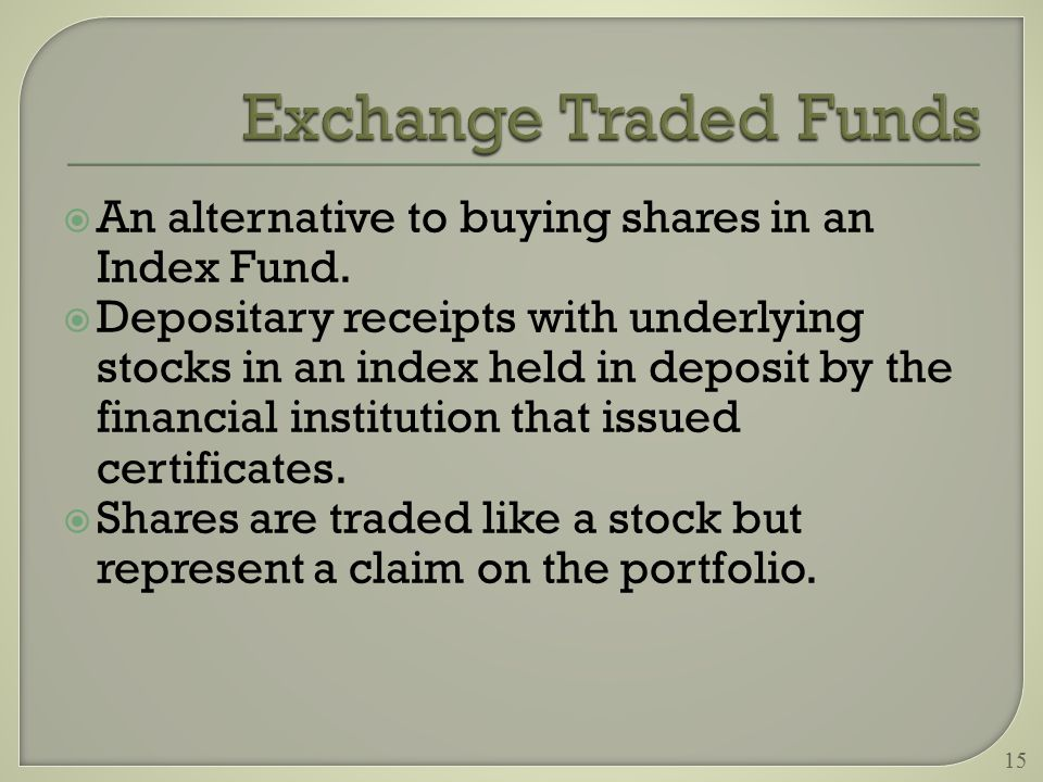  An alternative to buying shares in an Index Fund.