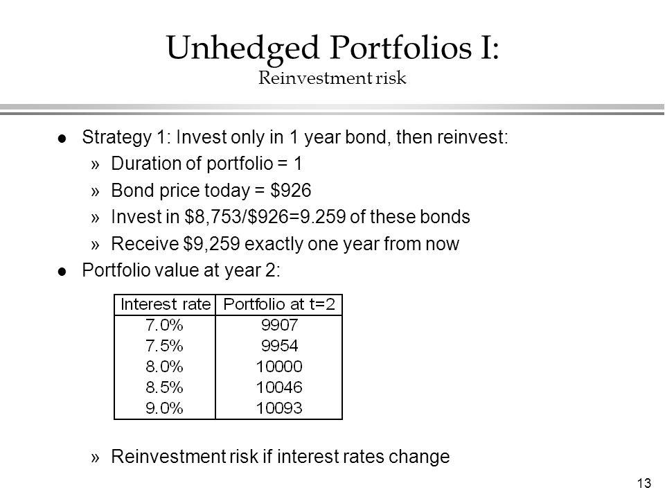 13 Unhedged Portfolios I: Reinvestment risk l Strategy 1: Invest only in 1 year bond, then reinvest: »Duration of portfolio = 1 »Bond price today = $9