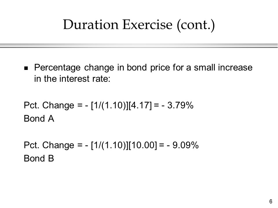 6 Duration Exercise (cont.) n Percentage change in bond price for a small increase in the interest rate: Pct. Change = - [1/(1.10)][4.17] = - 3.79% Bo