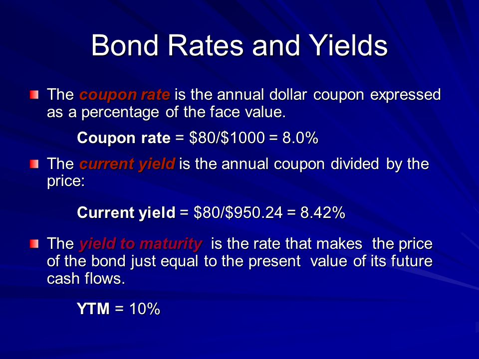 Bond Rates and Yields The coupon rate is the annual dollar coupon expressed as a percentage of the face value.