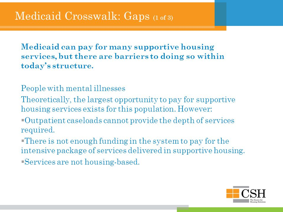 Medicaid Crosswalk: Gaps (1 of 3) Medicaid can pay for many supportive housing services, but there are barriers to doing so within today's structure.