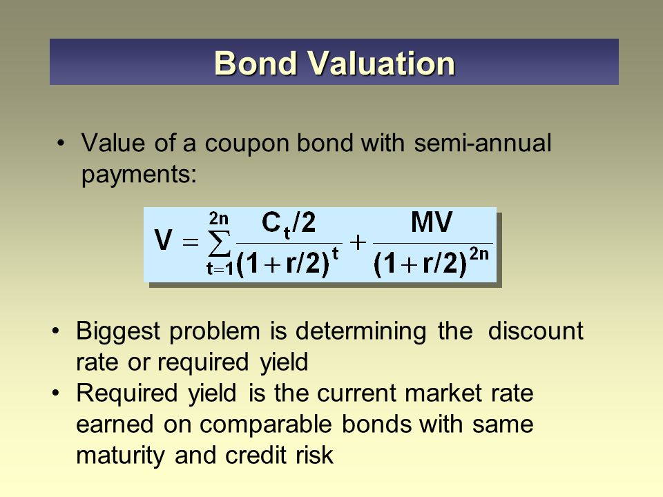 Value of a coupon bond with semi-annual payments: Bond Valuation Biggest problem is determining the discount rate or required yield Required yield is the current market rate earned on comparable bonds with same maturity and credit risk