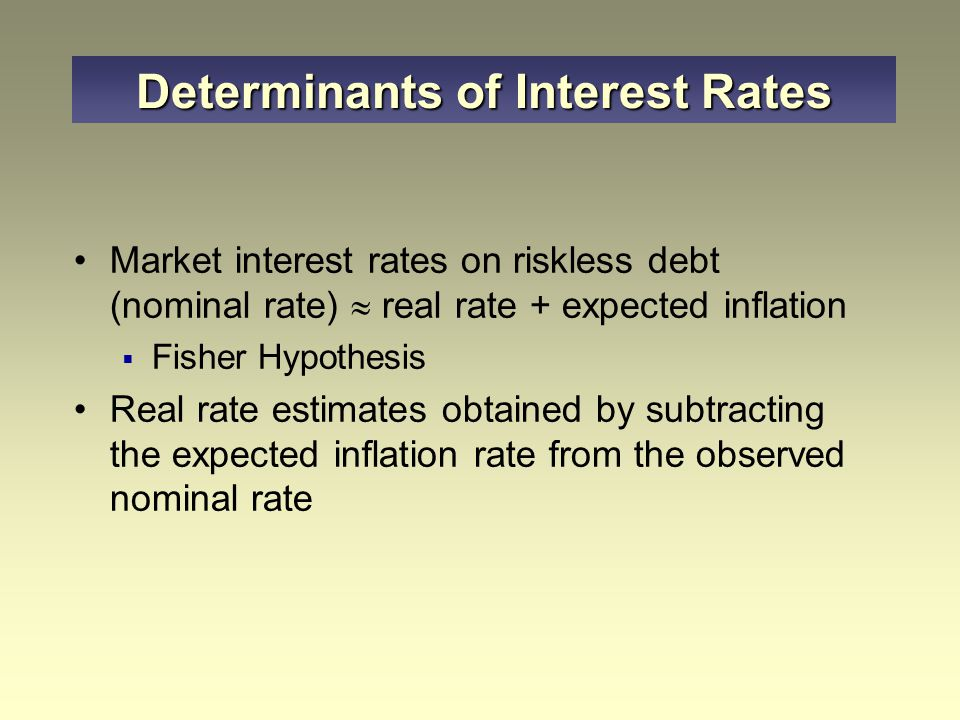 Market interest rates on riskless debt (nominal rate)  real rate + expected inflation  Fisher Hypothesis Real rate estimates obtained by subtracting the expected inflation rate from the observed nominal rate Determinants of Interest Rates