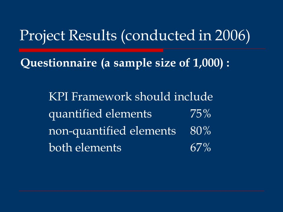 Project Results (conducted in 2006) Questionnaire (a sample size of 1,000) : KPI Framework should include quantified elements 75% non-quantified elements 80% both elements 67%
