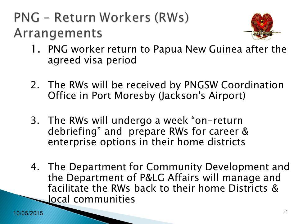 10/05/2015 21 PNG – Return Workers (RWs) Arrangements 1.