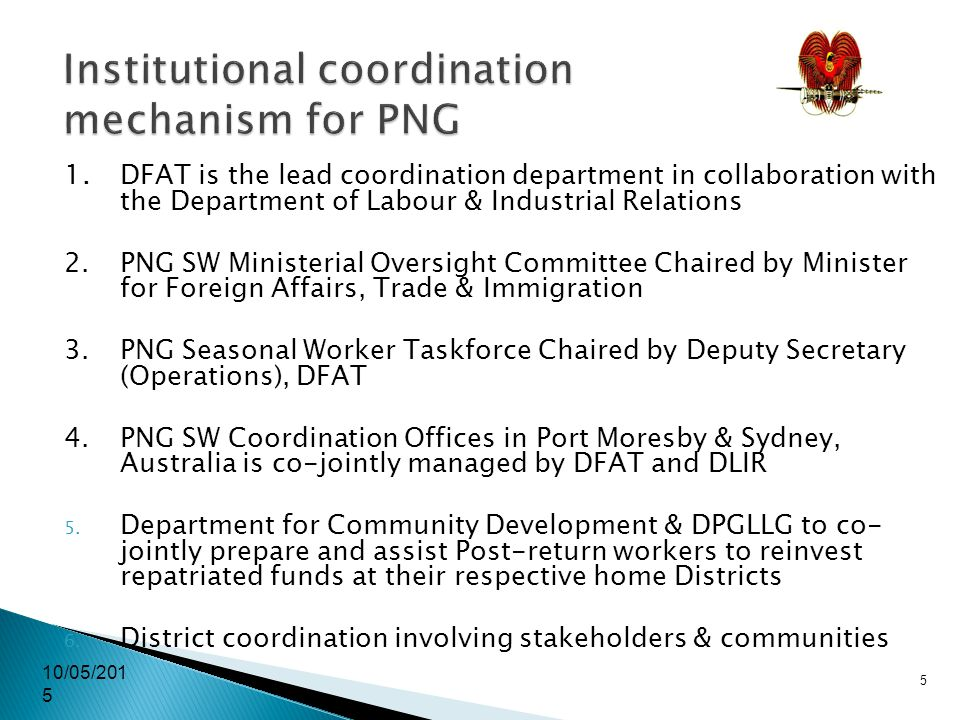 10/05/2015 5 Institutional coordination mechanism for PNG 1.
