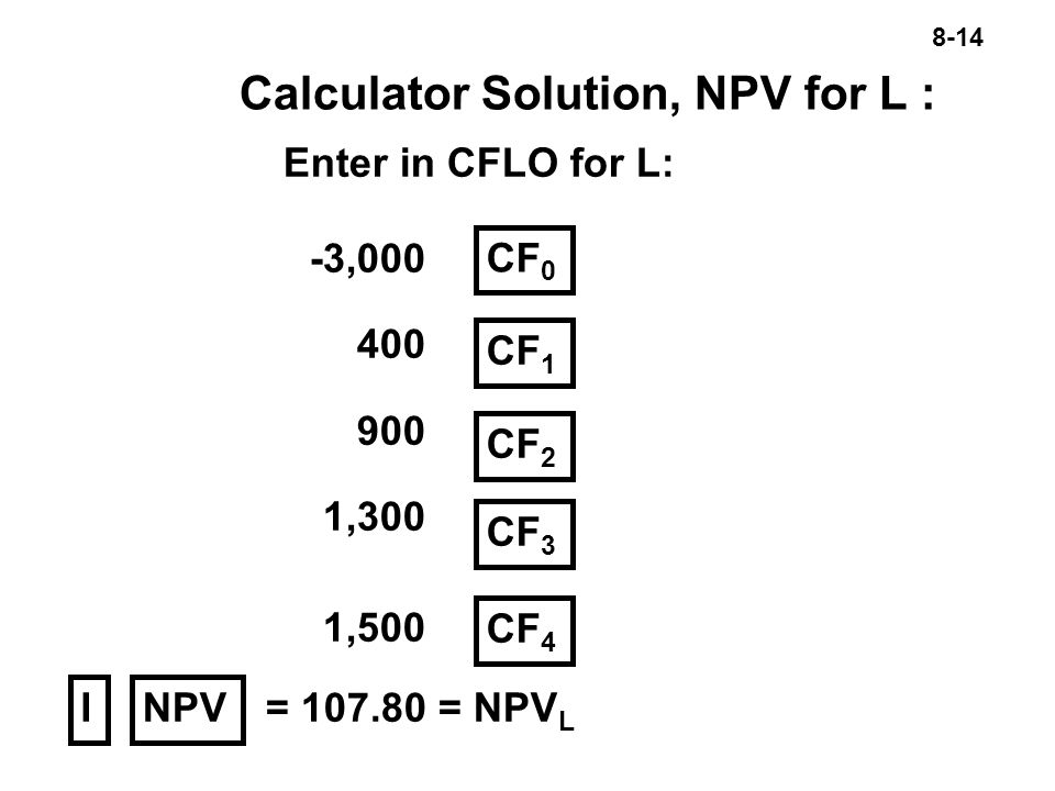 8-14 Calculator Solution, NPV for L : Enter in CFLO for L: -3, ,300 1,500 CF 0 CF 1 NPV CF 2 CF 3 I = = NPV L CF 4