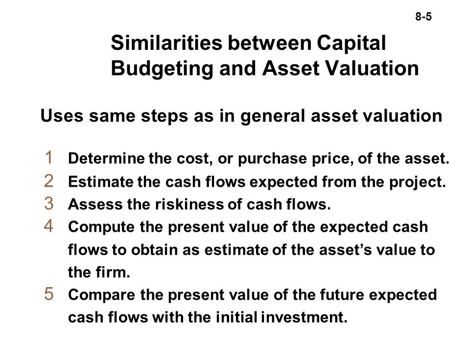 8-5 Similarities between Capital Budgeting and Asset Valuation 1 Determine the cost, or purchase price, of the asset.