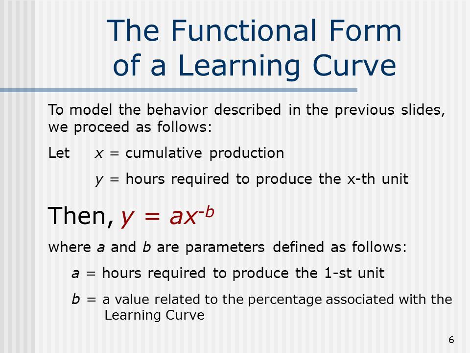 6 The Functional Form of a Learning Curve To model the behavior described in the previous slides, we proceed as follows: Letx = cumulative production