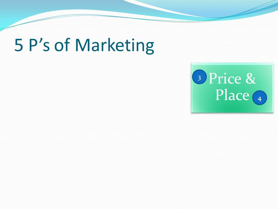5 P's of Marketing Price & Place 3 4