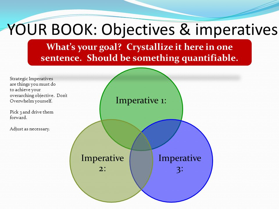 YOUR BOOK: Objectives & imperatives Imperative 1: Imperative 3: Imperative 2: What's your goal.