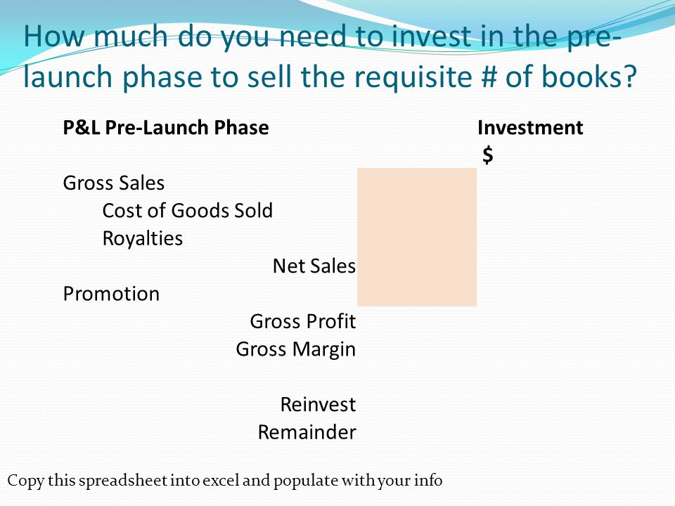 How much do you need to invest in the pre- launch phase to sell the requisite # of books.
