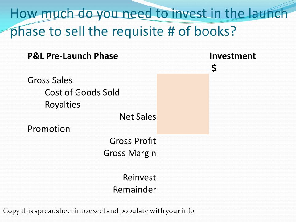 How much do you need to invest in the launch phase to sell the requisite # of books.