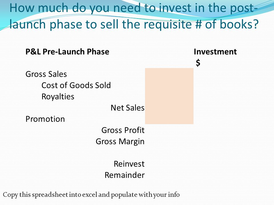 How much do you need to invest in the post- launch phase to sell the requisite # of books.