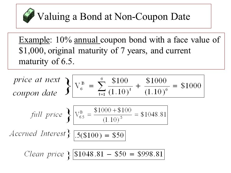 Valuing a Bond at Non-Coupon Date Example: 10% annual coupon bond with a face value of $1,000, original maturity of 7 years, and current maturity of 6