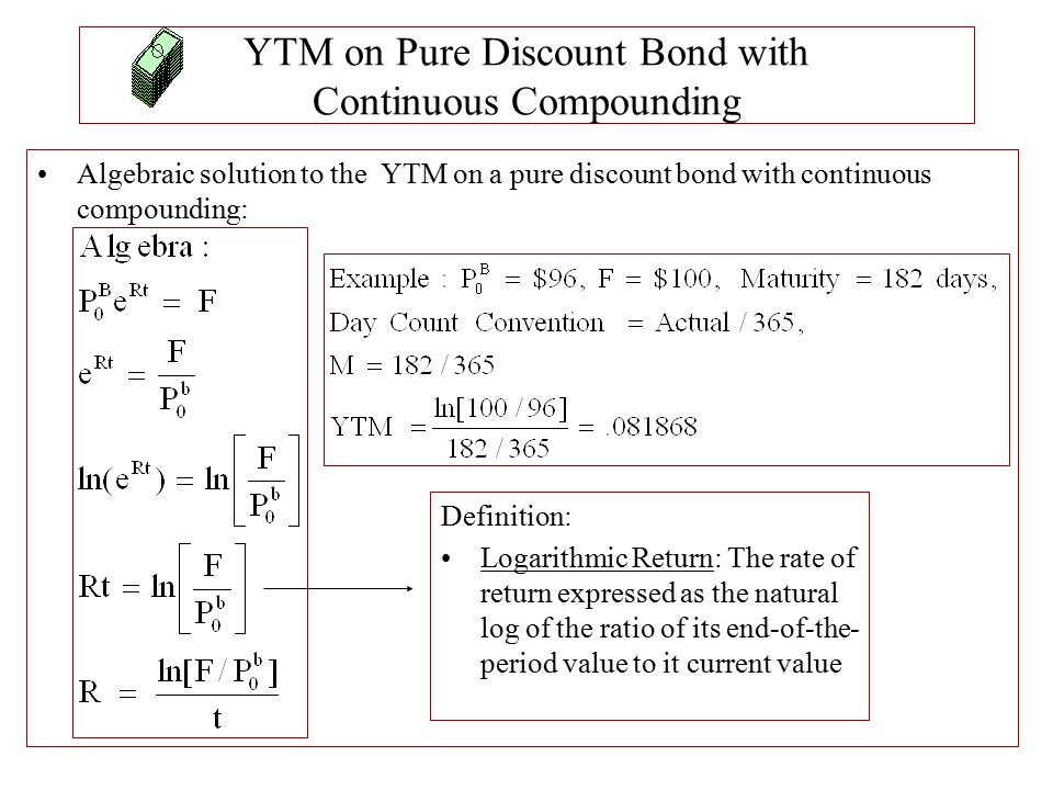 YTM on Pure Discount Bond with Continuous Compounding Algebraic solution to the YTM on a pure discount bond with continuous compounding: Definition: L