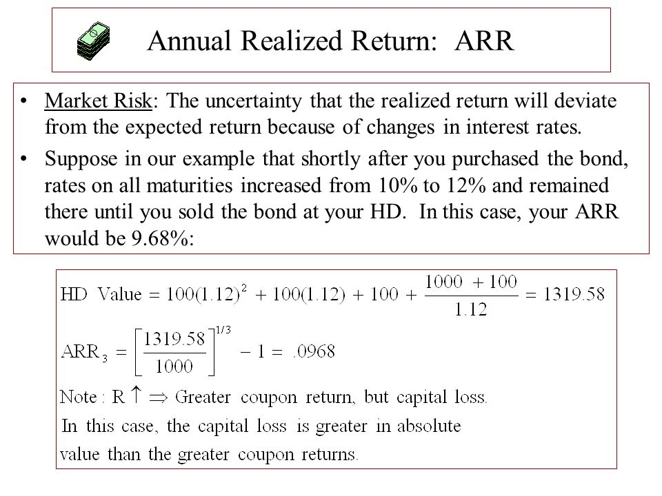 Annual Realized Return: ARR Market Risk: The uncertainty that the realized return will deviate from the expected return because of changes in interest