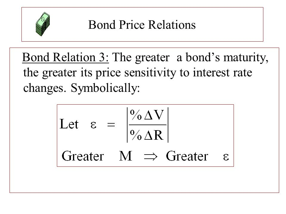 Bond Price Relations Bond Relation 3: The greater a bond's maturity, the greater its price sensitivity to interest rate changes. Symbolically: