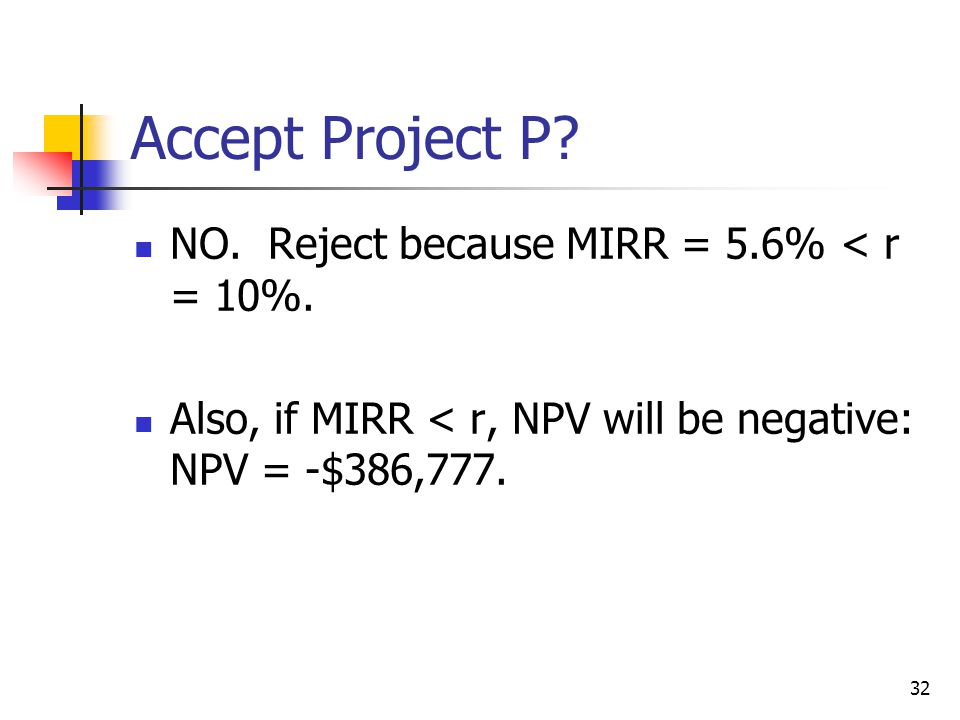 32 Accept Project P. NO. Reject because MIRR = 5.6% < r = 10%.