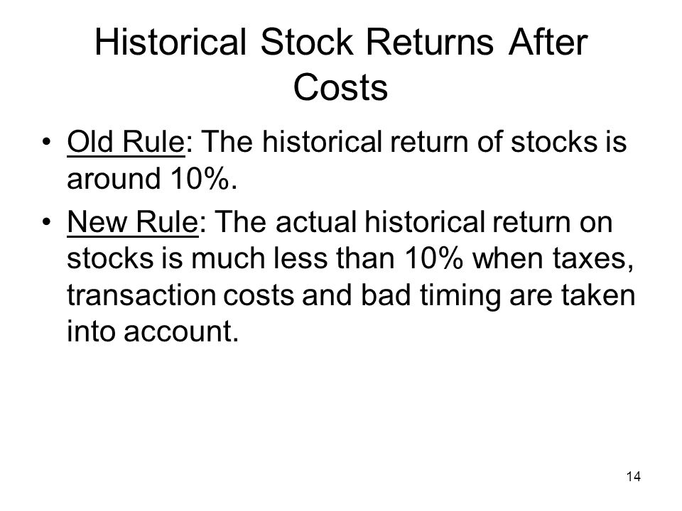 14 Historical Stock Returns After Costs Old Rule: The historical return of stocks is around 10%.