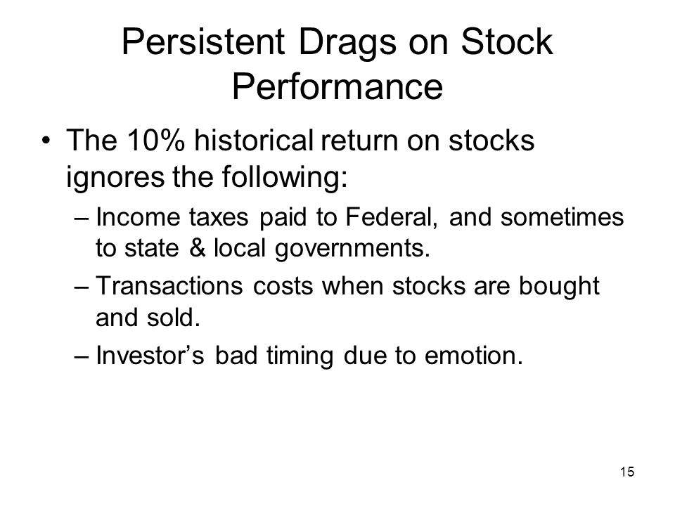 15 Persistent Drags on Stock Performance The 10% historical return on stocks ignores the following: –Income taxes paid to Federal, and sometimes to state & local governments.