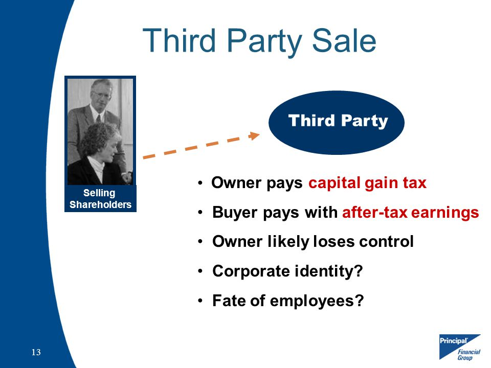 13 Third Party Sale Selling Shareholders Third Party Owner pays capital gain tax Buyer pays with after-tax earnings Owner likely loses control Corporate identity.