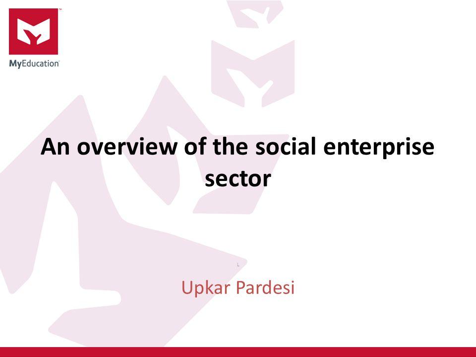 An overview of the social enterprise sector L Upkar Pardesi