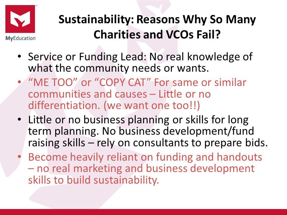 Sustainability: Reasons Why So Many Charities and VCOs Fail.